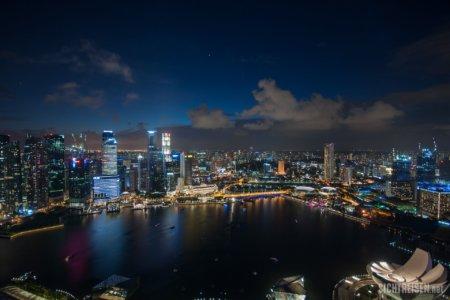 Skyline Marina Bay Sands night Singapore Asia